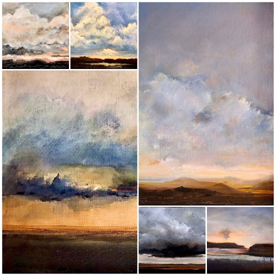 Collage of New Mexico landscape paintings March 2021