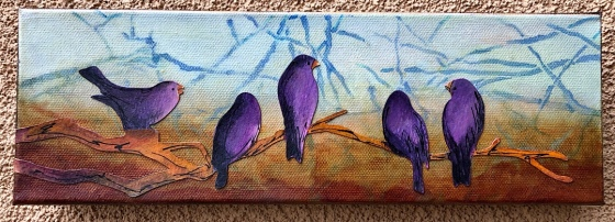 Out on a Limb...paint and cut paper on canvas
