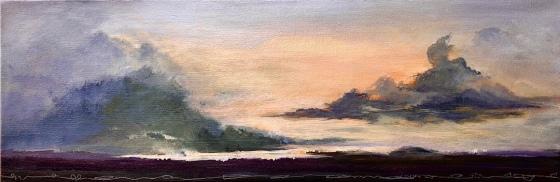 ALAMOSA Sunset and acrylic painting on canvas