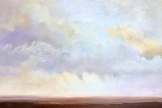 Soft acrylic landscape painting on canvas, Breezes, 24x36.